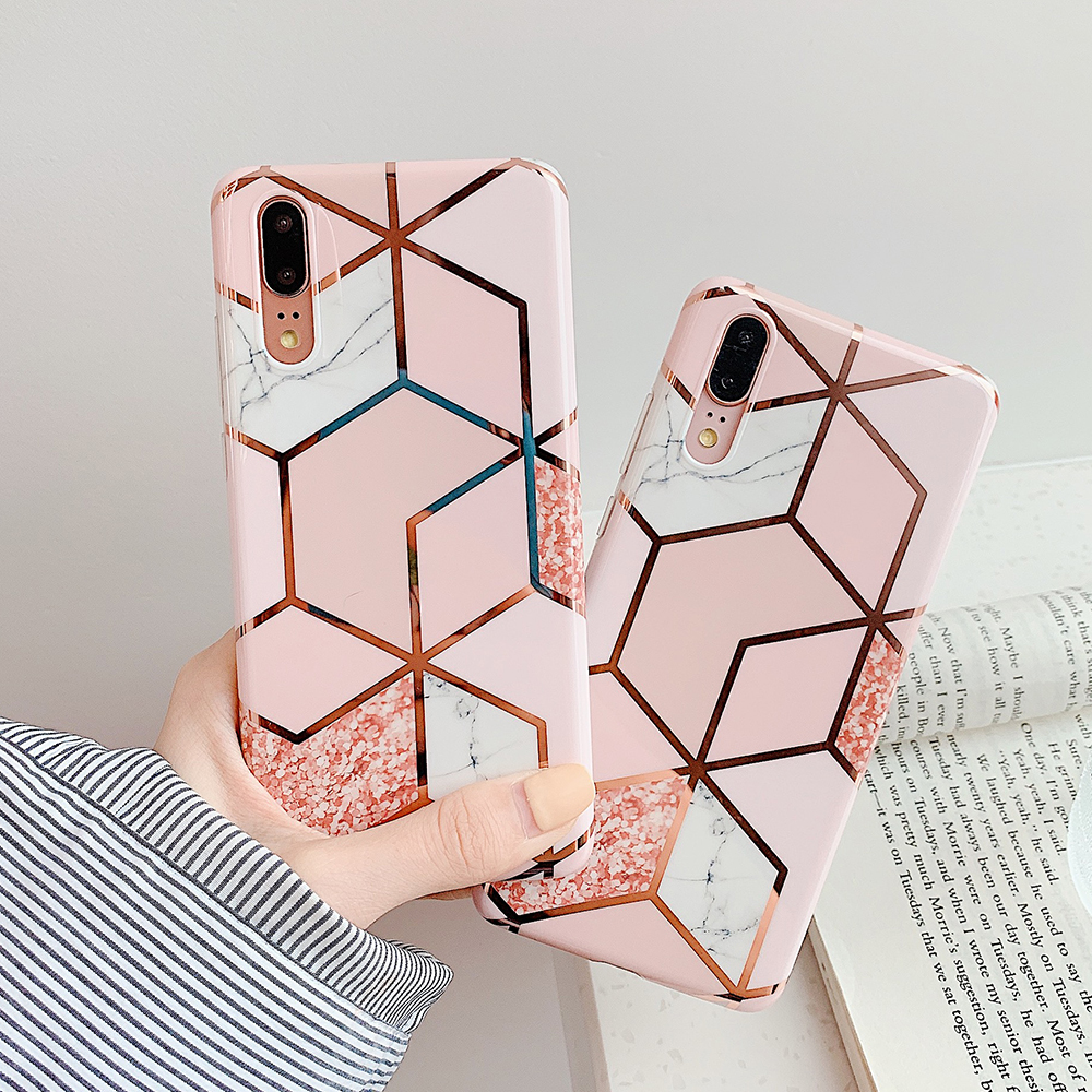 Geometric Marble Patterned Phone Cases