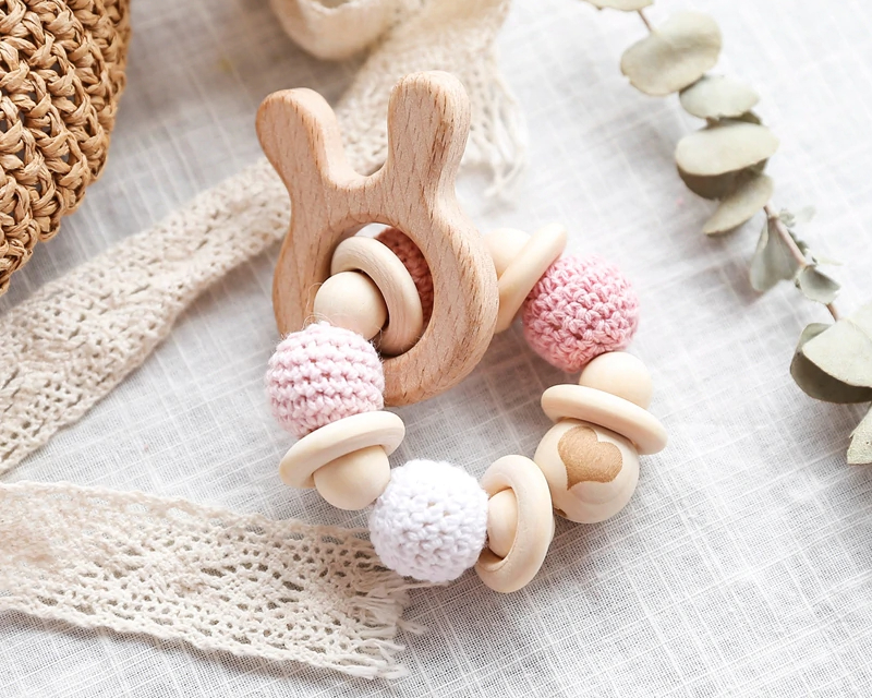 Baby's Animal Shaped Wooden Teether with Crochet Beads