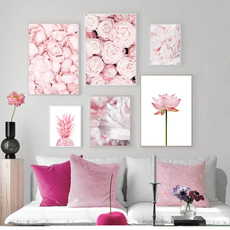 Pink Flowers Themed Wall Poster