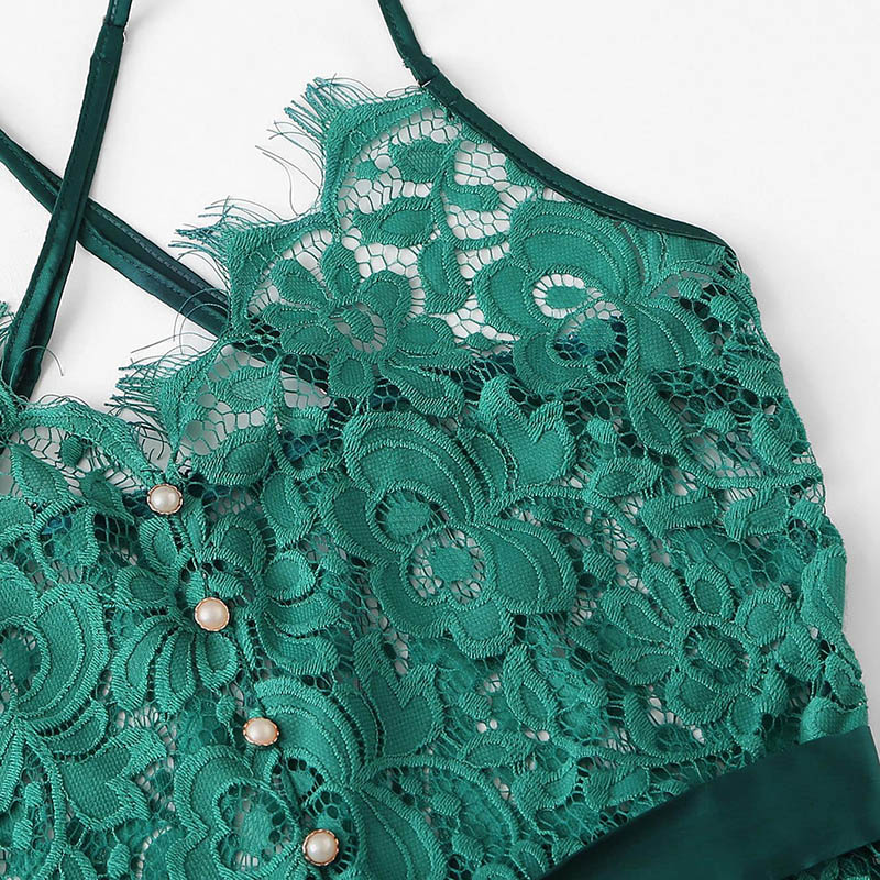 Women's Floral Lace Decorated Belted Bodysuit