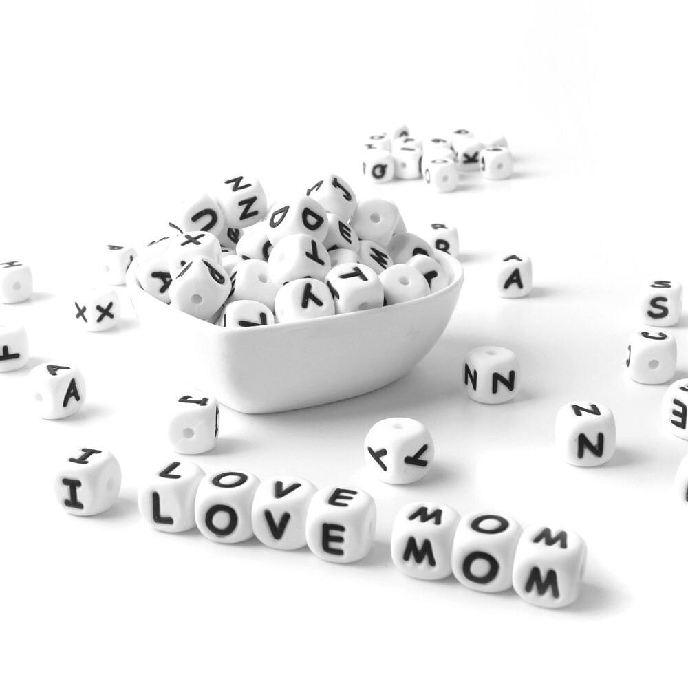 White Silicone Letter Beads Set